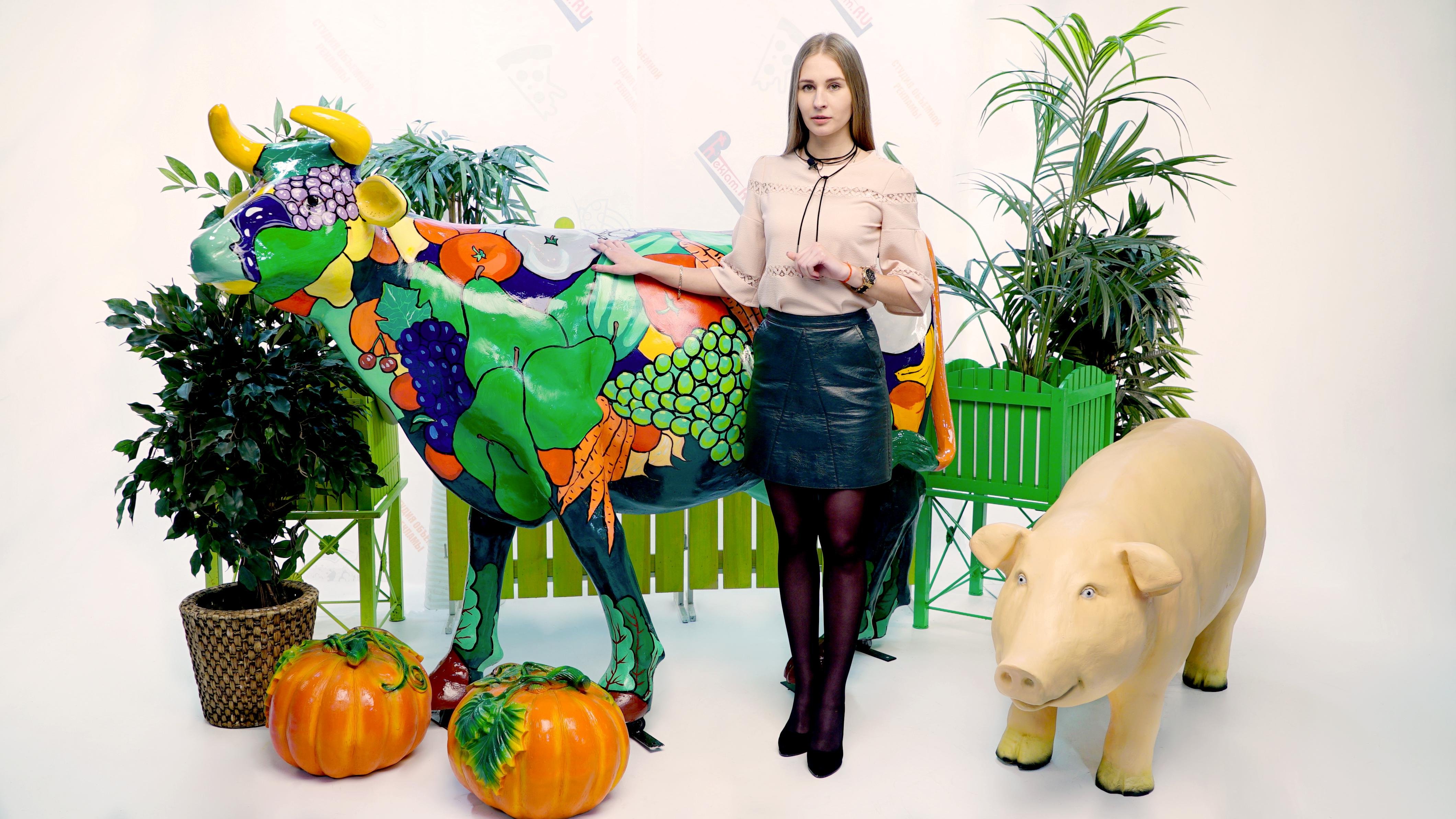 Бизнес реклама с помощью объемных фигур животных