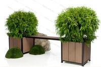 лавочка с ящиками для вертикального озеленения
