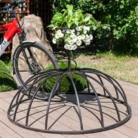кованая велопарковка с кашпо