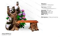 скамейка дерево с пандами F07027