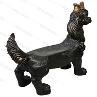 бронзовая скамейка собака