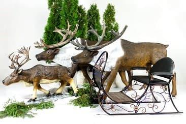 Новогодние олени с санями