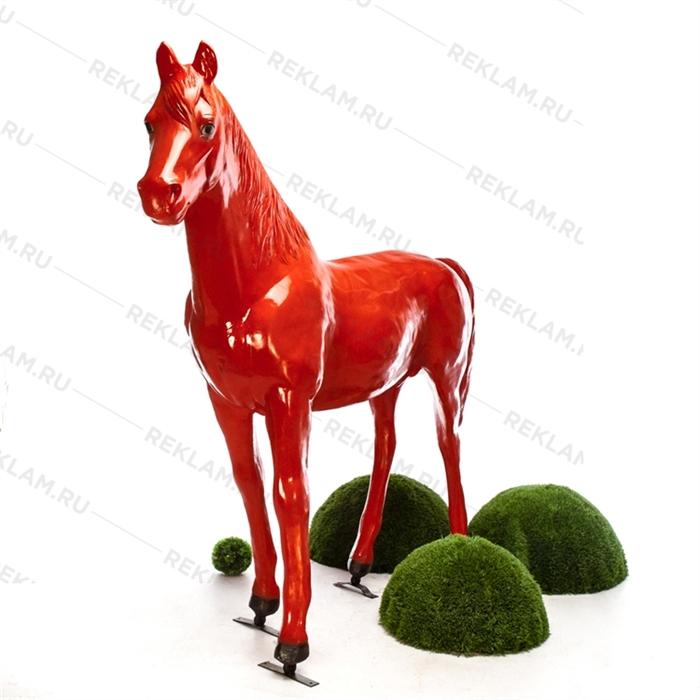 Рекламная фигура Конь красный, пластик, 235 x 190 см. - фото 18345