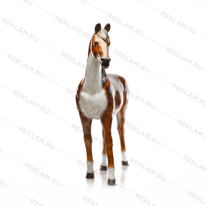 Ростовая фигура Лошадь бурая, пластик, 230 x 190 см. - фото 7361