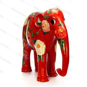 """Рекламная фигура слоник """"Орнамент цветы"""", фибергласс, 153 см."""
