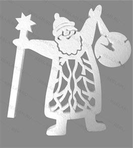 Скульптура из пенопласта Дед мороз с часами