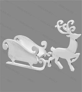 Скульптура из пенопласта Олень с санями