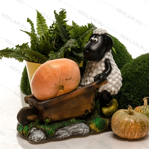 объемная фигура овечка с тачкой
