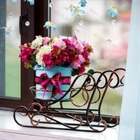 кованая цветочная  подставка сани