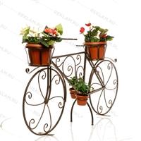 кованая бронзовая цветочница велосипед