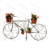 кованая цветочница велосипед под бронзу