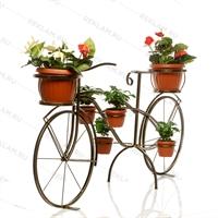 кованая подставка под цветы велосипед