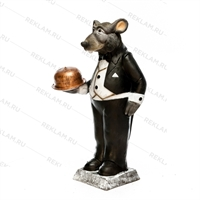 Рекламная фигура Крыс официант, пластик, 127 см - фото 18177
