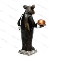 Рекламная фигура Крыс официант, пластик, 127 см - фото 18178