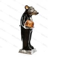 Рекламная фигура Крыс официант, пластик, 127 см - фото 18179