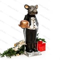 Рекламная фигура Крыс официант, пластик, 127 см - фото 18180