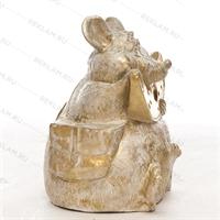 Фигура «мышь с сыром» пластик (белый с золотом) 75 см - фото 18808