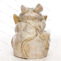 Фигура «мышь с сыром» пластик (белый с золотом) 75 см - фото 18809