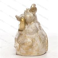 Фигура «мышь с сыром» пластик (белый с золотом) 75 см - фото 18810