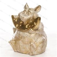 Фигура «мышь с сыром» пластик (белый с золотом) 75 см - фото 18811