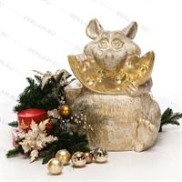 Фигура «мышь с сыром» пластик (белый с золотом) 75 см - фото 18812