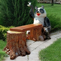 Скамейка Панда с фонариком - фото 6123