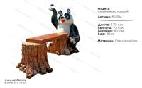 мебель из полистоуна скамейка панда с фонариком F07036