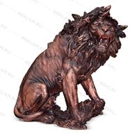 бронзовая парковая скульптура лев